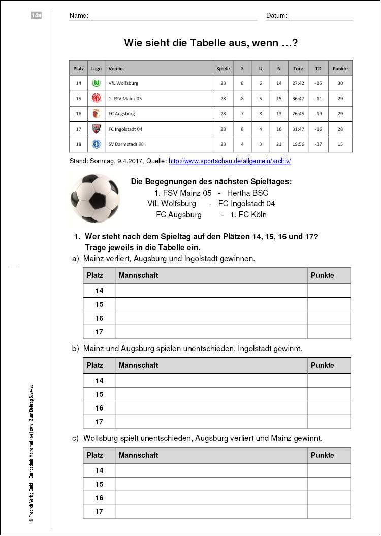 Wie sieht die Bundesligatabelle aus, wenn …   Veränderungen von ...