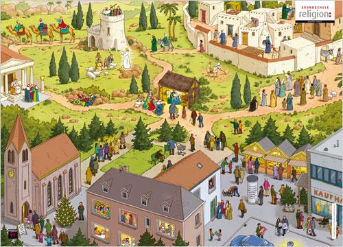 Wimmelbild-Poster: Weihnachten zur Geburt Jesu und heute